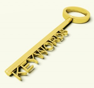 "a large key with ""key words"" as the teeth."